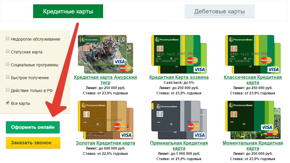 россельхоз онлайн заявка на кредитную карту оформить можно получить кредит по копии паспорта