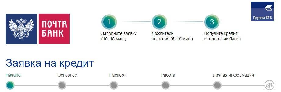 онлайн заявка на кредит почта банк красноярск