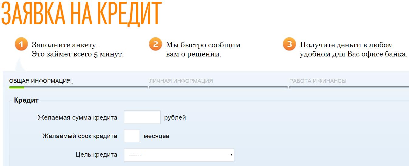 Процедура оформления онлайн-заявки